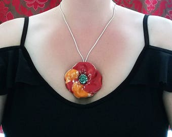 Ceramic necklace Poppy, Red Poppy Pendant, Pottery Flower necklace, Handmade Jewellery, Red Flower pendant, Poppy necklace, Handmade Jewelry