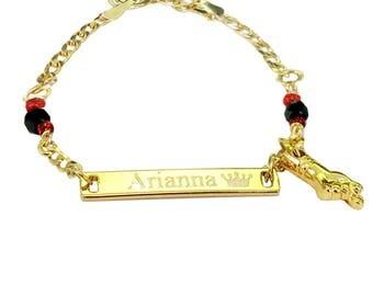 ID Bracelet, Baby Bracelet, Personalized Baby Bracelet,  Pulsera de Azabache for Babies  18K Gold Filled Baby Pulsera de Azabache Bracelet