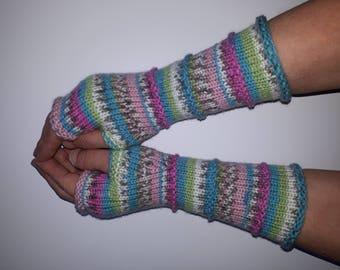 Women Fingerless gloves Mittens Long Arm Warmers Boho Glove Women Fingerless Wrist Multicolored gloves Knitted gloves Ready to ship
