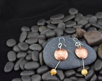 Copper Drop Earrings with Mookaite Jasper