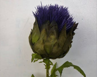 Artificial giant Scottish purple thistle flowers