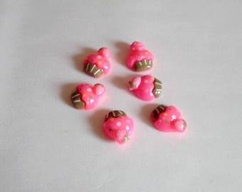 6 pink cupcake resin 1.5 cm
