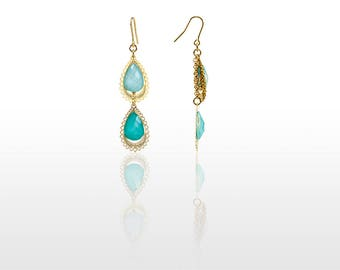 Hypoallergenic Silicone Green Gradation Drop Earrings