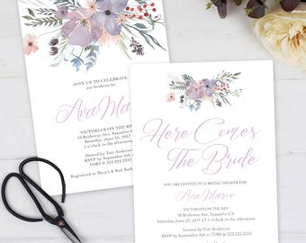 Watercolor Floral Lavendar Party / Bridal Shower / Wedding /Invitation Printable