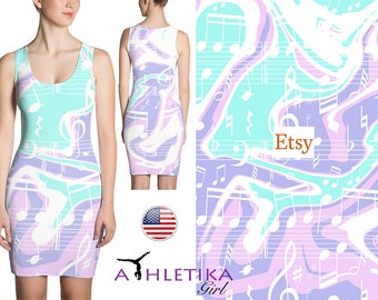 Liquid Marble Printed Bodycon Short Mini Sleeveless Dress Music Notes Print Fitted Summer Spring Woman Girl Unique Original Mint Pink Purple