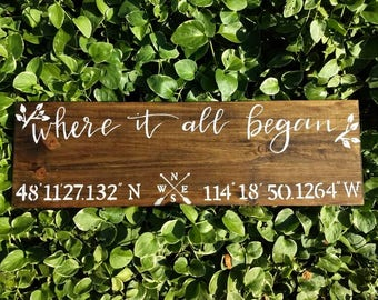 "GPS coordinates ""Where it all began"" wooden sign"