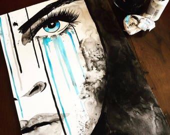 Blue eyed wahine print