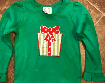 Girl's Christmas Present Embroidered Shirt, Christmas Embroidery, Girl's Christmas Shirt