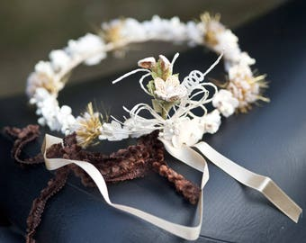 Beige Brown fabric flower Crown