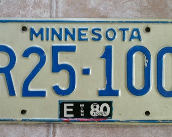Vintage 1980 Minnesota Car license plate