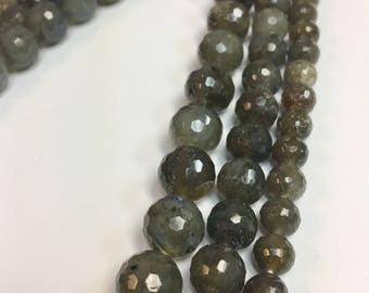 6mm, 8mm, 10mm or 12mm faceted Labradorite beads!
