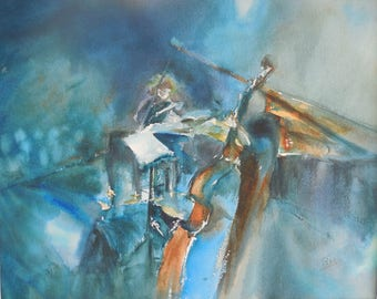 Watercolor on paper on the theme of music