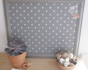 Grey Pin board / desk tidy with white spots