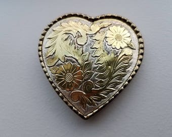 Heart Shaped Silver and Brass Belt Buckle