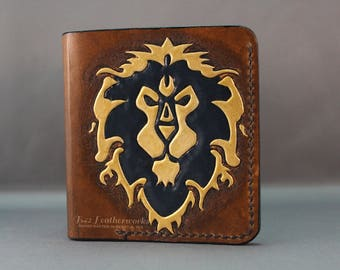 Leather wallet, bi-fold wallet, Warcraft inspired wallet, Handmade leather wallet - Made to Order