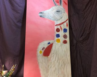 Original acrylic llama painting inspired by Peru