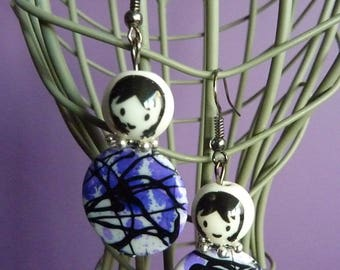 Earrings Metal Platinum girl face porcelain and Pearl White Black purple graffiti body
