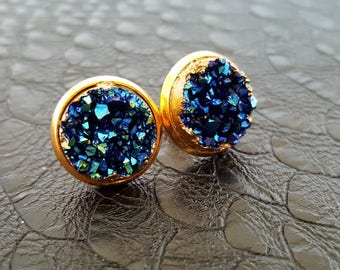 Cosmic Blue Druzy Crystal Gold Plate Stud Earrings