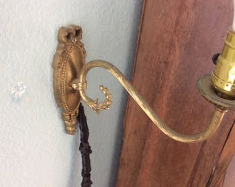 Antique Brass Sconce from England, Rewired and Working