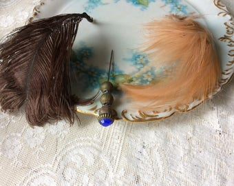 Antique Millinery Feathers and Hat Pin, Lot, 3 Pieces