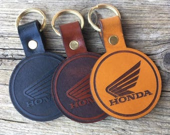Leather Honda Motorcycle Keyring