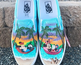 Minnie and Mickey Disney painted shoes