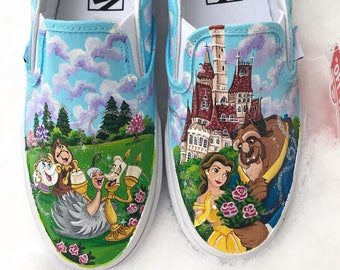Beauty and the beast painted shoes
