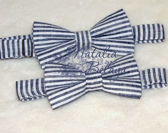 Father Son Bow ties. Bow tie Set of 2pcs. Pre-tied Bow ties. Navy Bow tie. Striped bow ties. Mens Bow tie. Bow tie for boys. Bow for men..