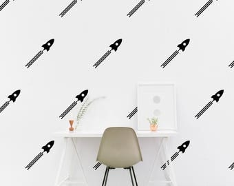 Space ship wall Decal Kids room Rocket Wall Sticker, Nursery, Kids Bedroom Pattern Wallpaper Vinyl Wall Decals Stickers Home Decor