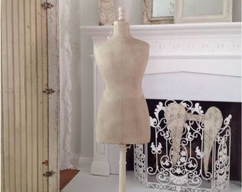 Antique French  1800's Painted Dress Form Mannequin