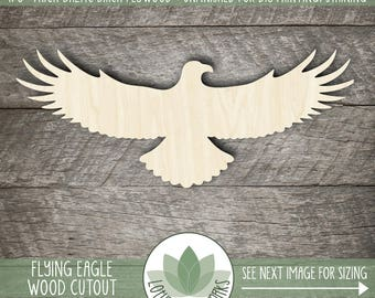Wooden Eagle Cutout, Wood Laser Cut Eagle Shape, Unfinshed Wood For DIY Projects, Eagle Shape, Many Size Options Available