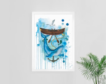 Arctic whale under boat. Art print of watercolor illustration