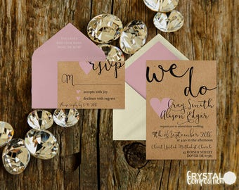 Light Pink and Craft Paper Wedding Invitation Suite Printable