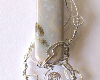 Pale Lanterns Rising - pendant - ocean jasper - orbicular jasper - sterling silver