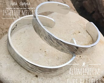 Personalised Cuff Bangle, Custom Metal Bangle, Hand Stamped Message Bangle, Godmother Cuff Bracelet