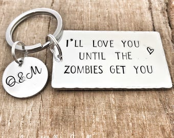Zombie Keychain, Zombie Gift Partner, Until the Zombies Get You Gift, Zombie Keyring Friend