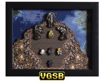 Final Fantasy III (Final Fantasy VI) Shadow Box - Floating Continent - SNES - Super Nintendo - 3D Shadow Box Glass Frame - 12x10 - Kefka