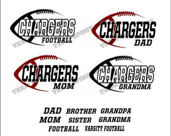 Chargers Side Football Download Files - SVG, DXF, EPS, Silhouette Studio, Vinyl Cut Files, Digital Cut Files -Use with Cricut and Silhouette