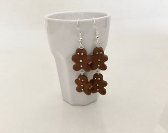 Gingerbread chocolate polymer clay earrings