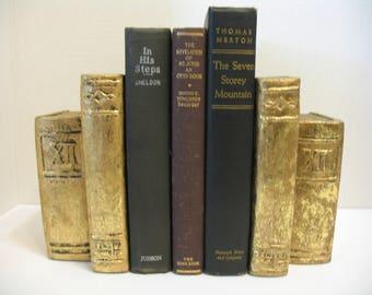 2 Vintage Faux Gold Bookends