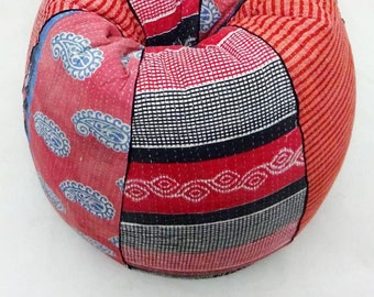 Handmade CottonSlipcover And Insert Floral Bean Bag Chair Home Decor Round Bohemian Decorative Embroidered Ottoman
