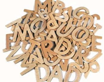 60 Wooden Letters Capital Alphabet Educational and Craft