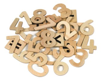 30 Natural Wooden Numbers with Math Symbols