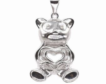 Teddy bear cage pendant, sterling 925 silver cage, genuine pearl cage pendant, wish pearl cage necklace, animal pearl jewelry, F3070-P