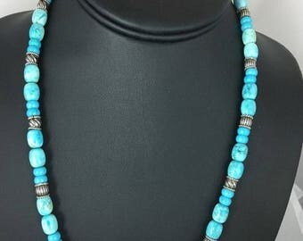 Native American Blue Turquoise ,  Sterling Silver Necklace Earrings