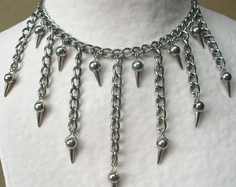 Stainless steel necklace chain and spikes - near the neck with pendants