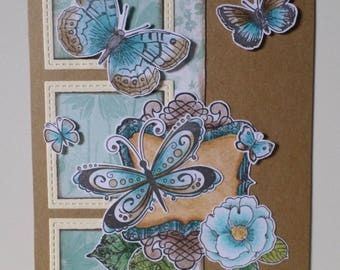 Thank you card Butterfly Turquoise Blue