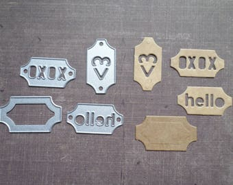 Die cut Sizzix small Rectangle heart words punched tag
