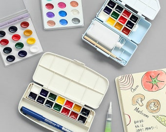 Kuretake Travel Paint Set, Travel Paint Pans, Watercolor Palette Set, Watercolor Paint Pans, Travel Paint Case, Watercolor Paint Box