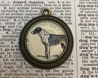 Handmade Vintage Dictionary Dog Necklace - English Fox Hound